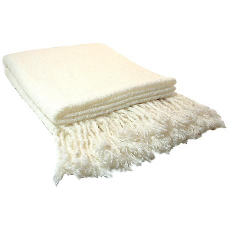 Loop Mohair Oyster White Throw Blanket