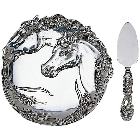 Arthur Court Horse Plate with Cheese Server