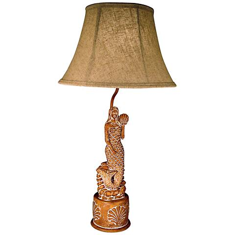 "Carved Mermaid 27"" High Table Lamp With Cloth Shade"