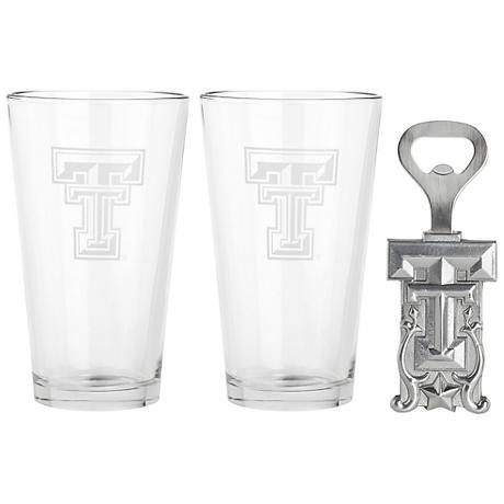 Texas Tech Set of 2 Pub Glasses and Bottle Opener