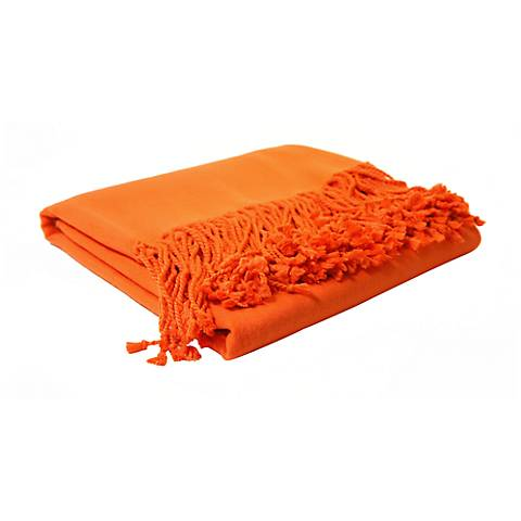 Bamboo Luxury Bright Tangerine Orange Throw Blanket