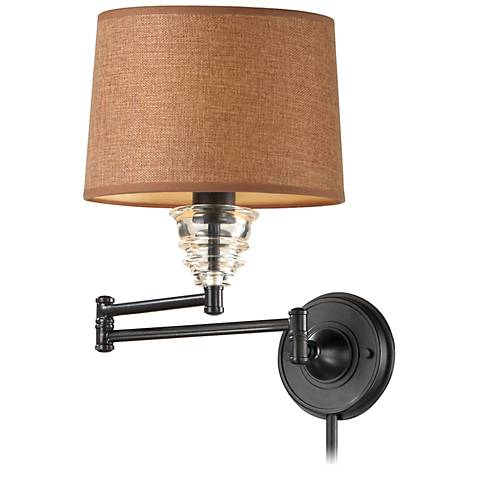 Esia Oiled Bronze and Glass Swingarm Wall Lamp