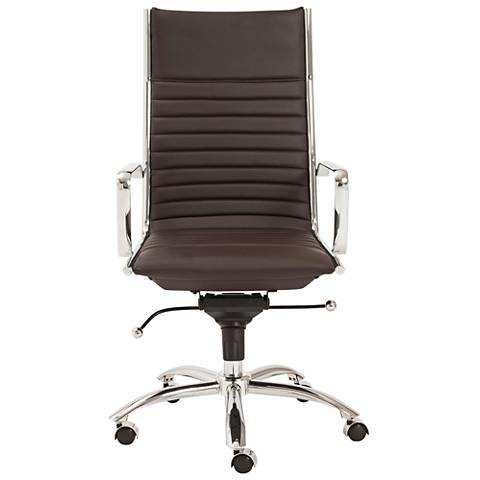 Dirk High-Back Chrome and Brown Office Chair