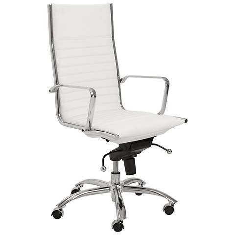 Kirk High-Back Chrome and White Office Chair