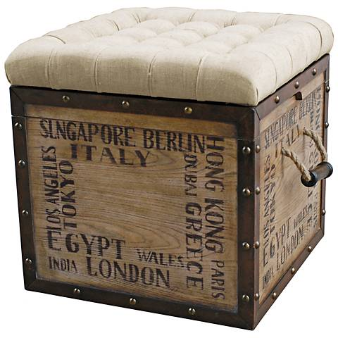 Birch Wood Crate Upholstered Storage Ottoman