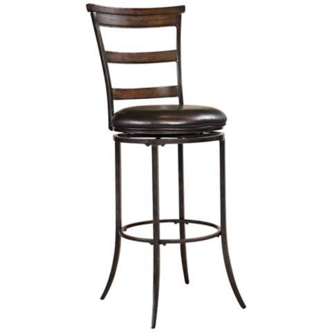hillsdale cameron tall ladder back 30 brown bar stool 2j178 lamps plus. Black Bedroom Furniture Sets. Home Design Ideas