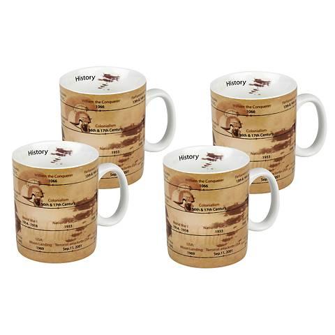 Set of 4 Porcelain History Mugs
