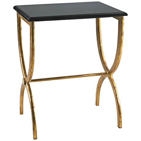 Marble Top Black and Gold Side Table