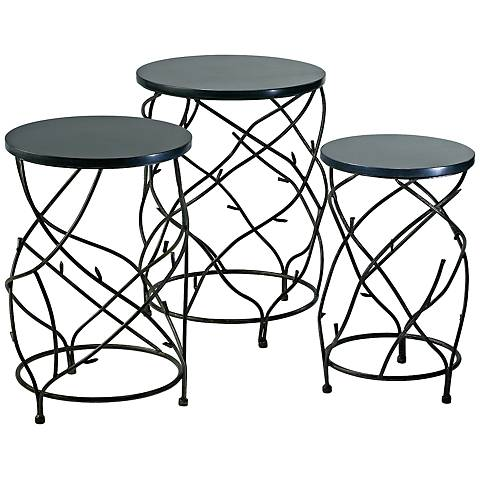 Set of 3 Branch Iron and Marble Drum Tables