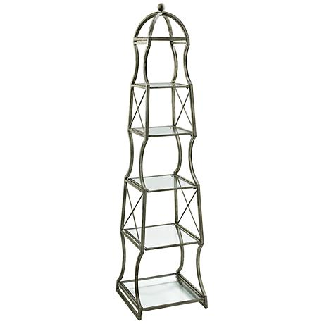 Chester Iron and Glass Rustic Gray Etagere