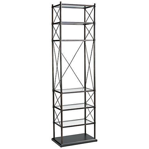 Everton Iron and Glass Oiled Bronze Etagere