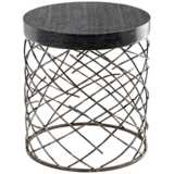 Marlow Round Interlace Raw Steel Table
