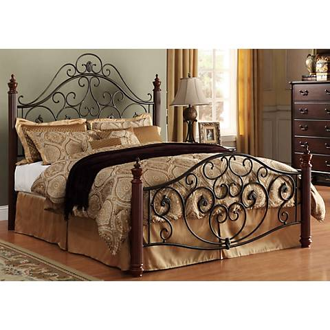 HomeBelle Cherry and Bronze Scrolled Bed