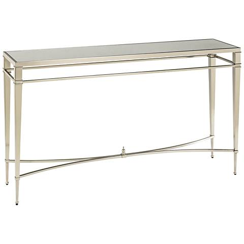Hammary Mallory Rectangular Glass and Nickel Sofa Table