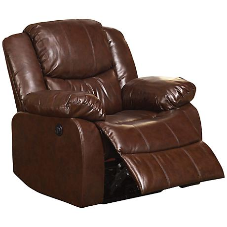 Fullerton Power Motion Brown Leather Match Recliner