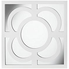 """Bowsher 23 1/2"""" Square White Lacquered Wall Mirror"""