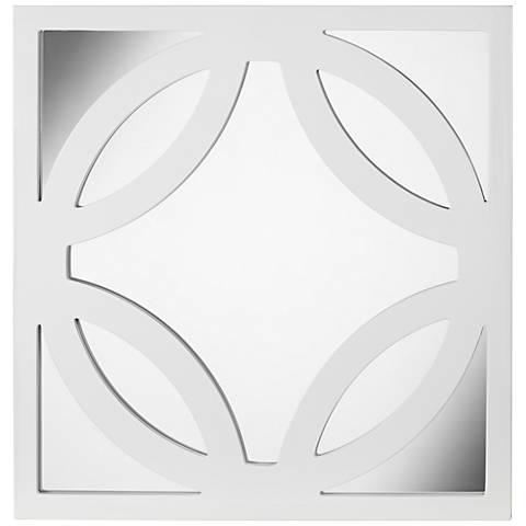 "Brodax 23 1/2"" Square White Lacquered Wall Mirror"