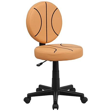 Armless Black and Orange Basketball Office Chair