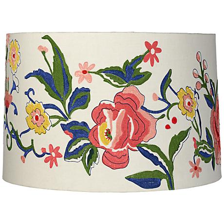 Embroidered Multi Floral Drum Lamp Shade 15x16x10.5 (Spider)