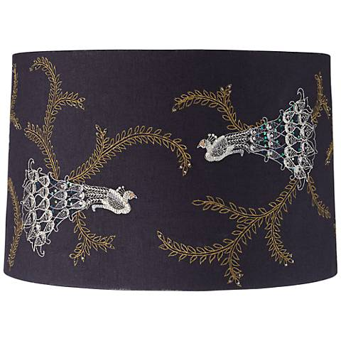 Embroidered Peacock Drum Lamp Shade 15x16x10.5 (Spider)