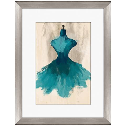 """Teal Couture Fashion 18"""" Framed Wall Art"""