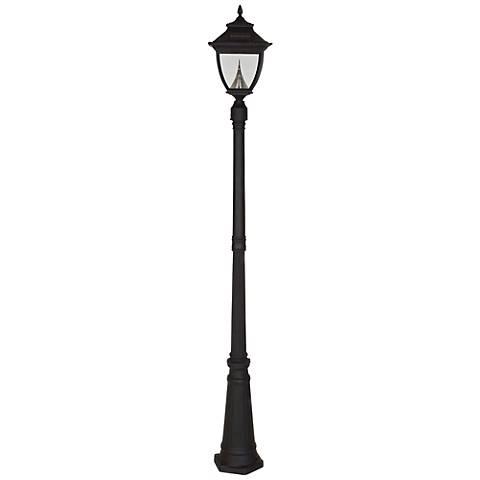 """Pagoda 87"""" High 1-Light Solar LED Post Light in Black"""