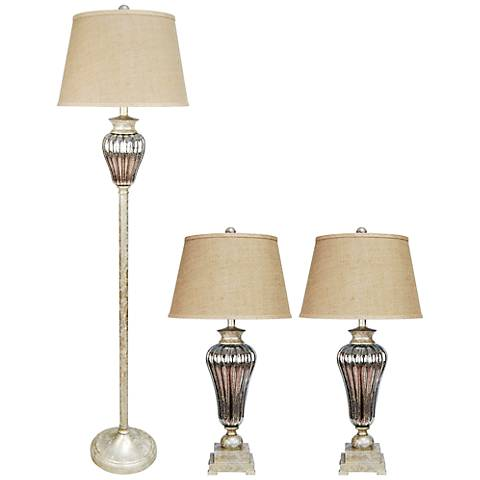 Antique Gold and Silver Mercury Glass 3-Piece Lamp Set