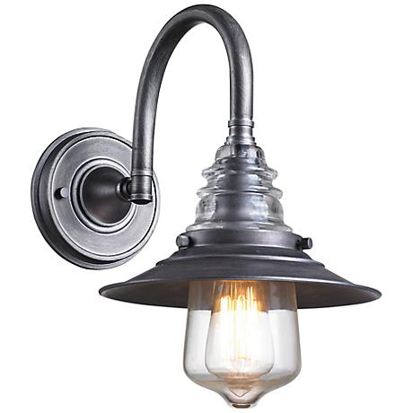Zinc Wall Sconces : Industrial Insulator Glass Weathered Zinc Wall Sconce - #2M075 Lamps Plus