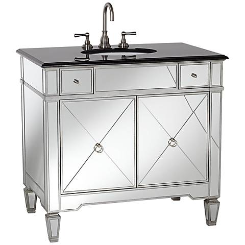 Mirrored and Black Granite Bathroom Sink Vanity