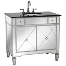 Mirrored and Black Granite Bathroom Sink Vanity