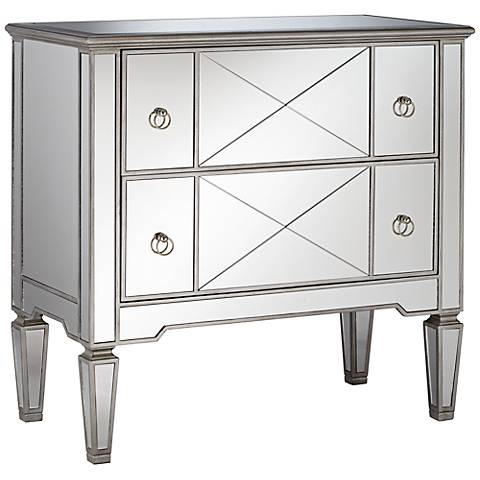 Mackenzie Criss-Cross 2-Drawer Mirrored Accent Chest