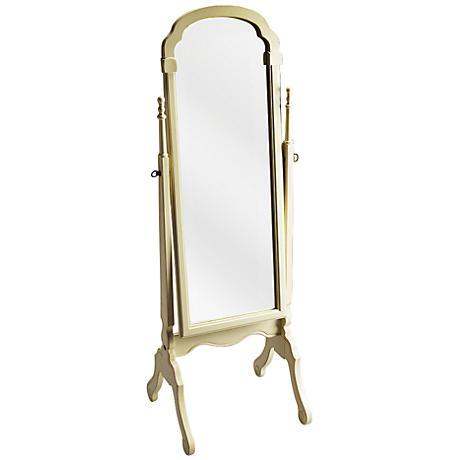 Antique Brass and Cream Tilting Cheval Mirror