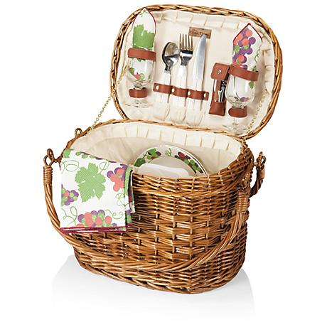Romance Nouveau Grape Burgundy Willow Picnic Basket