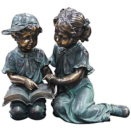 """Boy and Girl Reading 19"""" High Outdoor Statue"""
