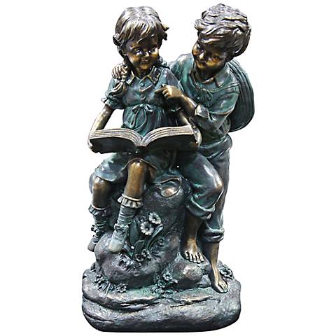 """Girl and Boy Reading 16"""" High Outdoor Statue"""