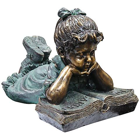 "Girl Reading 16"" High Outdoor Statue"