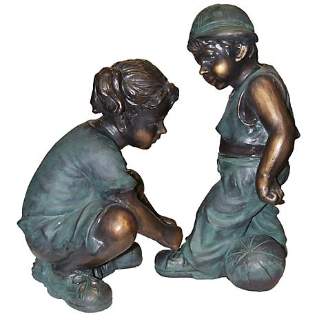 """Girl Tying Boy's Shoes 19"""" High Outdoor Statue"""