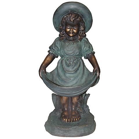 "Curtseying Girl 22"" High Outdoor Statue"