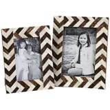 Set of 2 Zig Zag Bone Inlay Photo Frames