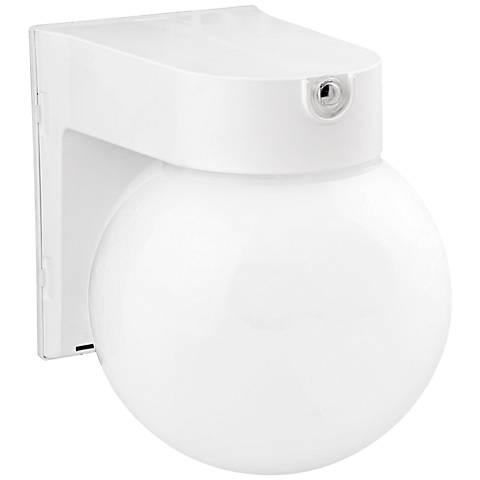 White Globe 7 1 4 High Led Outdoor Wall Light