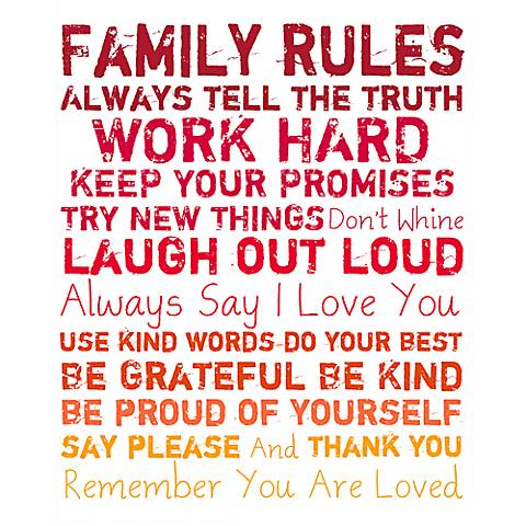 "Family Rules 20"" High Red and Orange Canvas Wall Art"