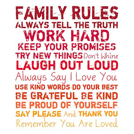 """Family Rules 20"""" High Red and Orange Canvas Wall Art"""