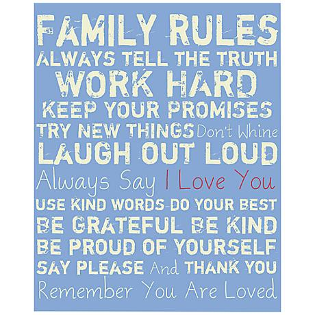 "Family Rules 20"" High Light Blue Canvas Wall Art"