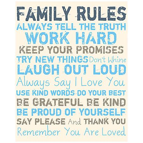 "Family Rules 20"" High Blue and Gray Canvas Wall Art"