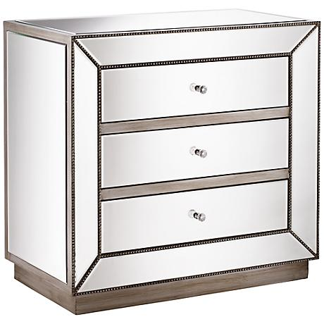 Maci Antique Silver 3-Drawer Mirrored Accent Chest