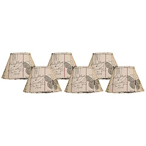 Set of 6 Antique Ledger Lamp Shades 4x6x5.25 (Clip-On)