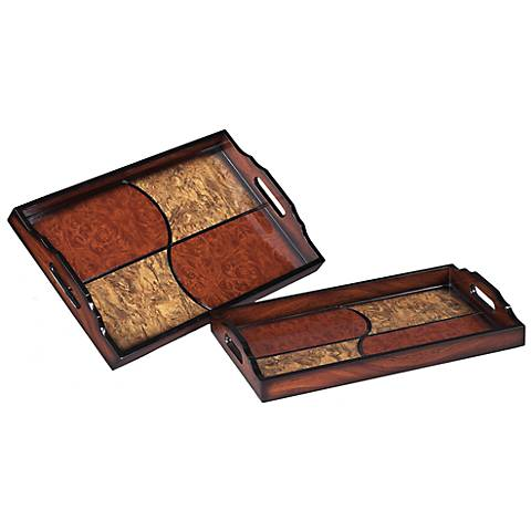 Set of 2 Quartered Brown and Cherry ServingTrays