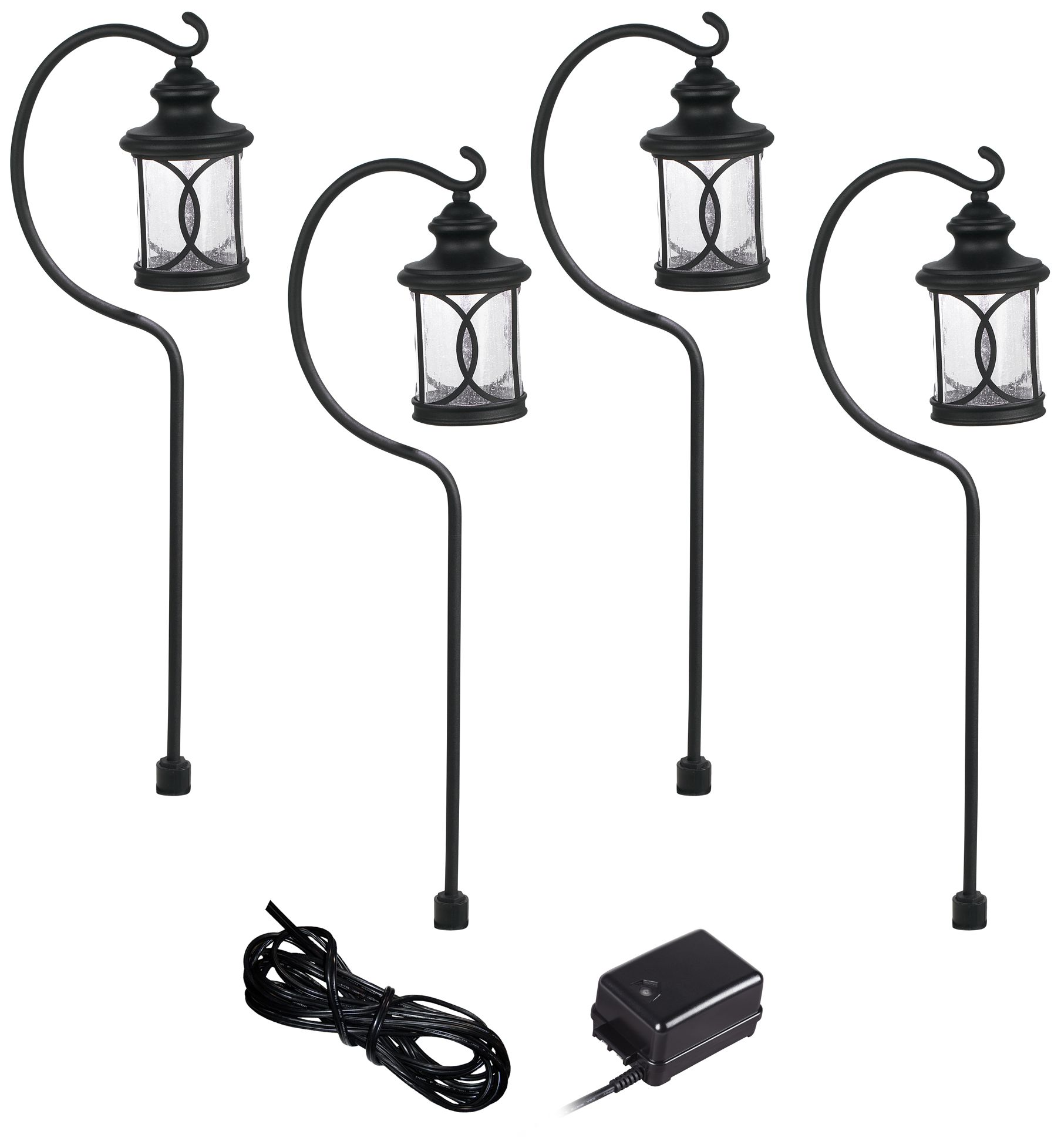 Capistrano Black 4 Path Light LED Landscape Lighting Kit