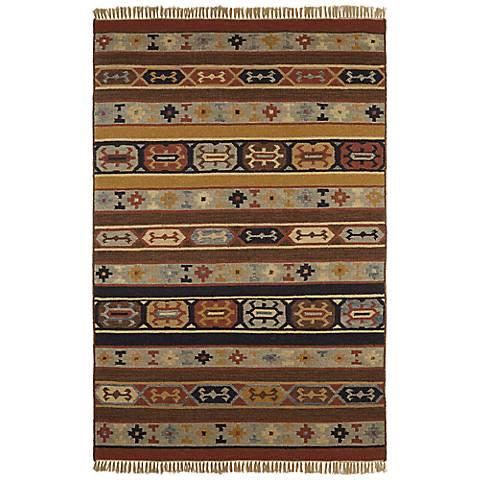 Southwestern Stripes Woolen Dhurry Rug