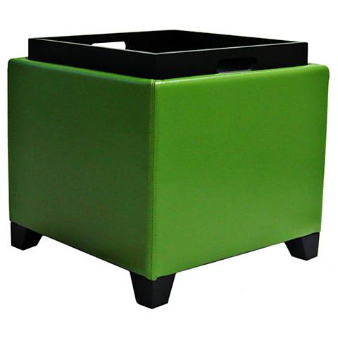 Adair Contemporary Green Storage Ottoman with Tray